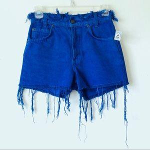 Levi's • Royal Blue Raw Hem Destroyed Denim Shorts